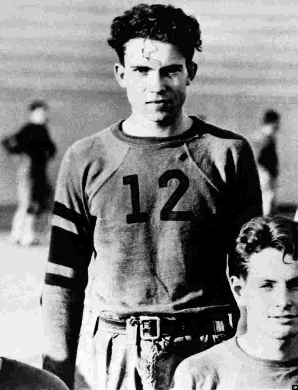 Former U.S. President Richard Nixon as a reserve for a California college football team in the 1930s