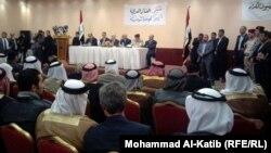 اللجنة الوزارية المكلفة بمتابعة مطالب المتظاهرين في إجتماع مع وجهاء وشيوخ في الموصل