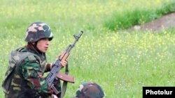 Karabakh Armenian soldiers hold military exercises earlier this week.
