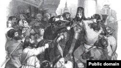 Убийство Амвросия, архиепископа Московского, во время Чумного бунта в 1771 году. С французской гравюры XIX века
