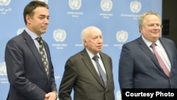 Средба на шефовите на дипломатиите на Македонија и на Грција, Димитров и Коѕијас со медијаторот на ОН Нимиц во Виена 25.04.2018