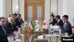 Iranian Foreign Minister Mohammad Javad Zarif meets with Japanese Foreign Minister Taro Kono and officials in Tehran, Iran June 12, 2019. Hamed Malekpour /Tasnim News Agency/via REUTERS