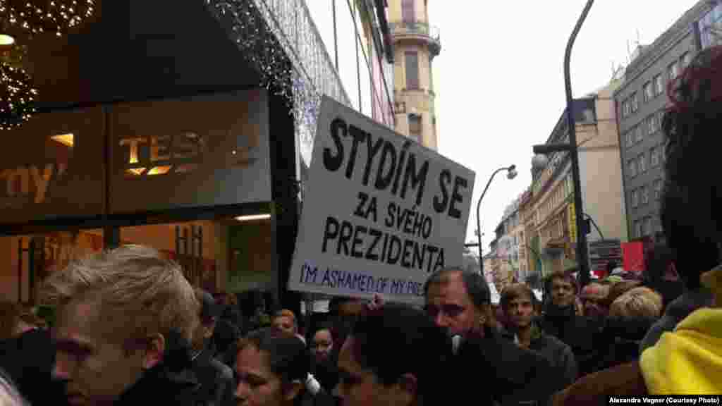 "На плакате написано: ""Нам стыдно за своего президента""."