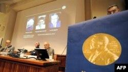 Нобелевская сессия Каролингского института, на которой были объявлена лауреаты в области медицины. Стокгольм. 6 октября 2008