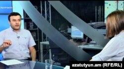 Адвокат Ерванд Варосян в студии «Азатутюн ТВ», Ереван, 17 августа 2017 г.