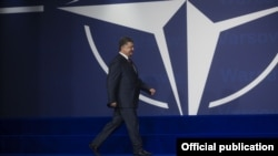 Ukrainanyň prezidenti Petro Poroşenko NATO-nyň Warşawadaky sammitinde.