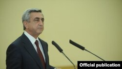 The Netherlands -- President Serzh Sarkisian making a statement in the Hague, 24 March 2014