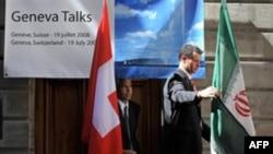 پرچم ایران و سوئیس در مذاکرات هستهای سال ۲۰۰۸ سوئیس.