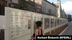 "Devojka gleda poster sa programom ""Novosadskog muzičkog leta"""