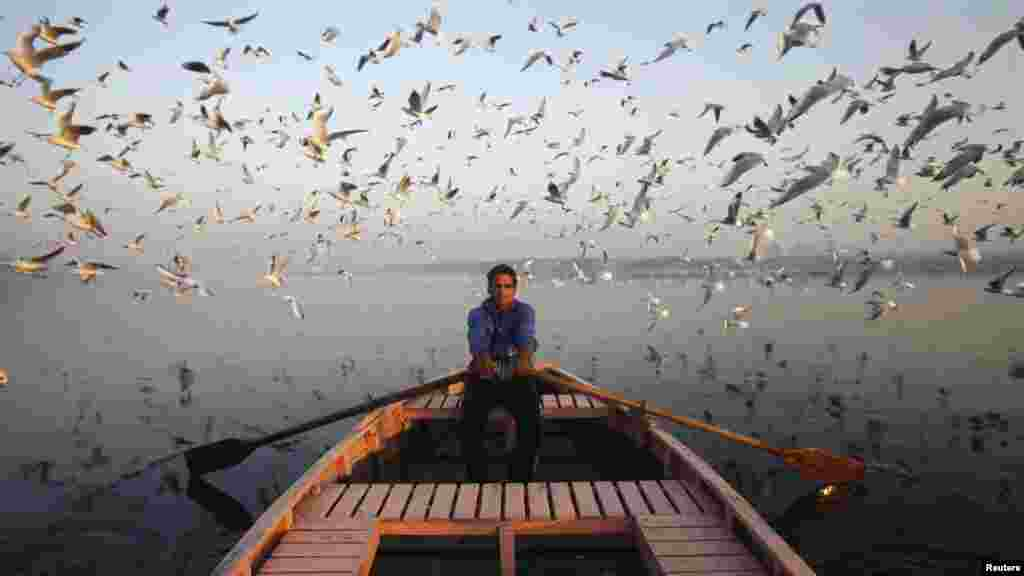 Migratory birds fly above a man rowing a boat on the Yamuna River in Delhi, India. (Reuters/Mansi Thapliyal)