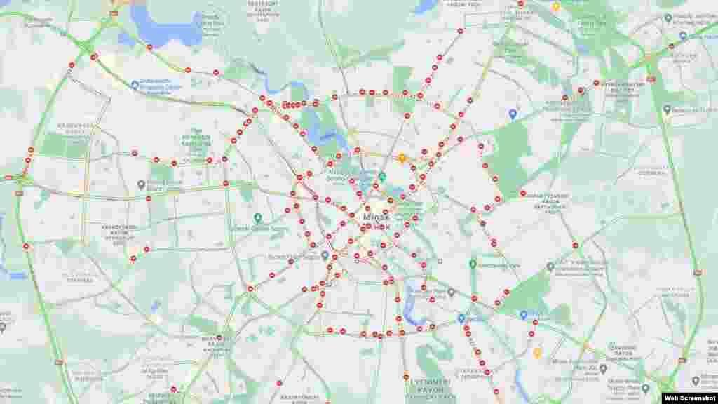 Паводле Google Maps, пасьля 16-й гадзіны быў перакрыты практычна ўвесь цэнтар Менску, шэраг галоўных вуліц і часткова — МКАД