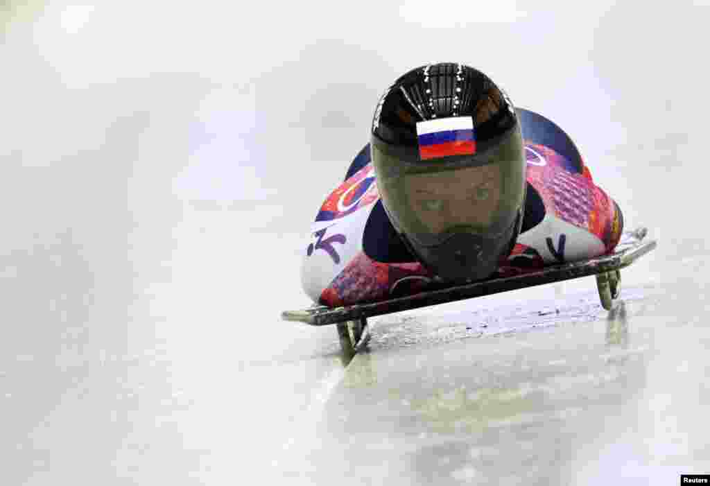 Russia's Yelena Nikitina speeds down the track during the women's skeleton event. She won bronze, coming third behind British gold-medal winner Elizabeth Yarnold.