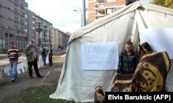 Палаточный лагерь боснийских мусульман в Сараево в знак поддержки боснийского языка вместо сербского в начальной школе, Сараево, 2013 год
