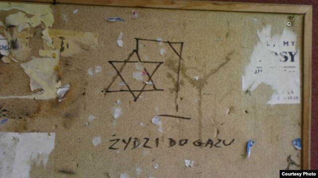 """Gas the Jews"" -- anti-Semitic graffiti in Bialystok (Source: Przestrzen Miasta, a Polish antiracist, human rights project)"