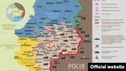 Украинанын орусиячыл жикчилдер менен уруш жүрүп аткан аймагынын картасы.