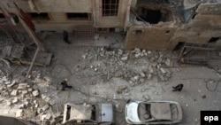 Городской квартал после удара сирийских правительственных войск. Дума, 13 декабря 2015 года.