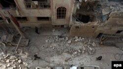 Սիրիա - Դումա բնակավայրը ռմբահարումից հետո, 13-ը դեկտեմբերի, 2015թ.