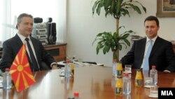 Средба меѓу поранешните премиери на Mакедонија, Бранко Црвенковски и Никола Груевски.