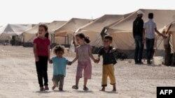 في مخيم الزعتري لللاجئين السوريين