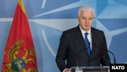 Belgium -- Montenegrin Prime Minister Dusko Markovic attends a press conference at the NATO headquarters in Brussels, January 26, 2017
