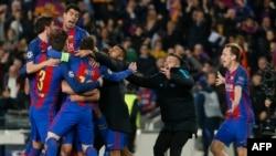 شادی بازیکنان تیم بارسلونا