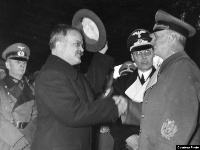 Molotov (left) in Berlin on November 14, 1940. The nonaggression pact remained in effect until Germany's invasion of the Soviet Union on June 22, 1941.