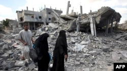 Մարտական գործողությունների հետևանքով ավերակների վերածված տներ Գազայի հատվածում, 4-ը օգոստոսի, 2014թ․