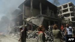 Pamje pas sulmit të sotëm në Qamishli të Sirisë