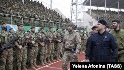 Глава Чечни Рамзан Кадыров на стадионе имени Билимханова