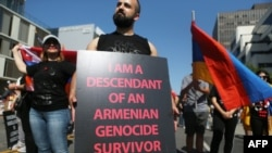 U.S. -- Demonstrators commemorating the 103rd anniversary of the Armenian genocide rally outside the Turkish Consulate in Los Angeles. April 24, 2018.