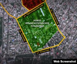 Границы нового крымскотатарского кладбища Симферополя.