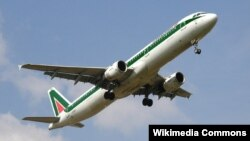 An Alitalia airplane pictured during takeoff.