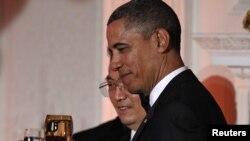 Барак Обама и Ху Цзиньтао на торжественном обеде