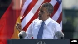 Germany -- US President Barack Obama delivers a speech at the Brandenburg Gate in Berlin, 19Jun2013
