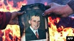 Румыны сжигают портрет диктатора Николае Чаушеску. Дента, 22 декабря 1989 года.