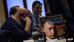 Bloomberg Markets журналының мұқабасындағы Владимир Путиннің суреті. Нью-Йорк қор биржасы, 3 наурыз 2014 жыл.