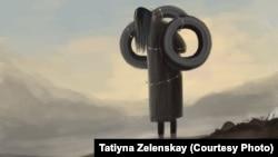 Картина, посвященная факту семейного насилия в Сузаском районе. Автор Татьяна Зеленская.