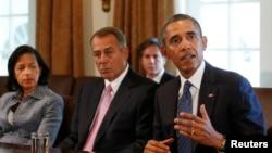 Президент Обама и инициатор иска спикер Палаты представителей Джон Бейнер в Белом Дом во время обсуждения сирийского кризиса