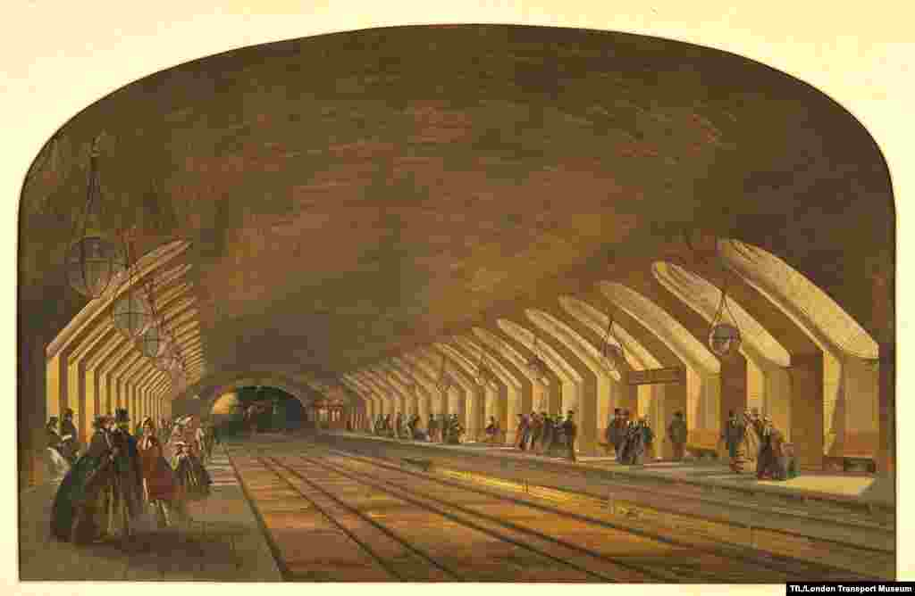 An undated lithograph of Baker Street Station...
