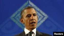 АҚШ президенті Барак Обама G20 саммитінің жабылуында сөйлеп тұр. Лос-Кабос, Мексика, 19 маусым 2012 жыл.