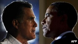 Президент США Барак Обама (справа) и его соперник на предстоящих выборах, кандидат от Республиканской партии Митт Ромни (слева).