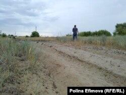 Противопожарная полоса в степи в Ростовской области