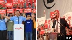 Зоран Заев и Христијан Мицкоски на завршните митинзи на претседателските избори 2019