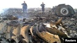На месте падения самолета авиакомпании Malaysia Airlines в Донецкой области Украины. 17 июля 2014 года.