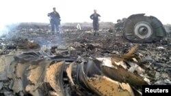 Место крушения пассажирского самолета Malaysia Airlines в Донецкой области Украины, 17 июля 2014 года.