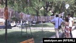 Армения -- Акция по сбору помощи езидским беженцам из Иракского Курдистана в Ереване, 31 июля 2015 г.