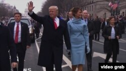 Donald și Melania Trump, parada de inaugurare, Washington, 20 ianuarie, 2017