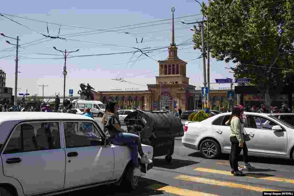 Protesters blockade roads outside Yerevan's main railway station.