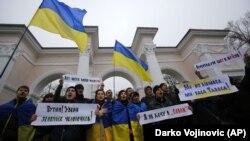 Митинг против российской оккупации Крыма. Симферополь, март 2014 года