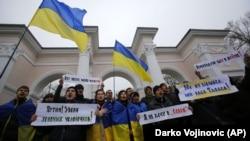 Митинг противников аннексии в Крыму. 11 марта 2014 года.